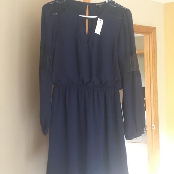 b933c1540788 Express Dresses | Nwt Size Small Navy And Lace Dress | Poshmark